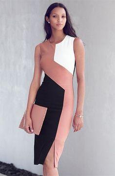 Blush/B&W color panel sheath muscle dress w/ slit hem, blush clutch, chestlength dark chocolate hair, pearl earrings, tan skin