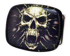 Black Leather Skull Fangs Belt Buckle Angry