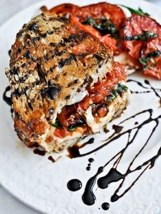 Roasted Tomato Caprese Grilled Cheese with Balsamic Glaze. This is heavenly. Most gourmet sandwich I have ever cooking Think Food, I Love Food, Good Food, Yummy Food, Tomato Caprese, Caprese Salad, Vegetarian Recipes, Cooking Recipes, Cooking Food