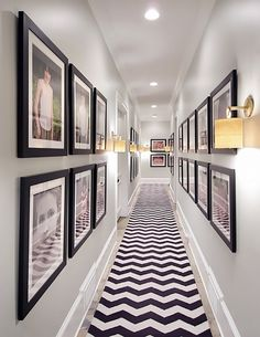 Unique: Nate Berkus Exhibits Us Inside His Decadent Atlanta Makeover 2020 - Hallway Ideas Hallway Walls, Long Hallway, Upstairs Hallway, Entry Hallway, Hallway Runner, Nate Berkus, Hallway Pictures, Framed Pictures, Family Pictures