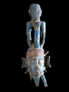 """Les masques miniatures, aussi appelés """"masques passeport"""" sont sculptés pour accueillir les esprits ancestraux, à l'instar des grands masques.  Leur fonction principale est la protection de la personne qui le porte, en particulier contre la sorcellerie.  Mais il peut aussi servir à la divination ou être un objet d'autel pour lequel des offrandes peuvent être faites.  Enfin, il permet d'attester du rang de son porteur, ainsi que de sa filiation."""