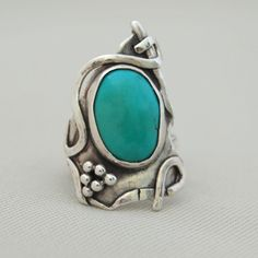 Silver and Turquoise BoHo Ring by cyndiesmithdesigns on Etsy
