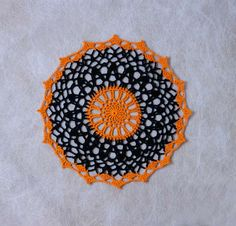 Black and Orange Halloween Crochet Doily, Fall Lace, Autumn Table Decor by NutmegCottage on Etsy