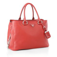 Red for summer! Prada Bag Vitello Daino Rosso Prada Shopper Bag by Fashionette