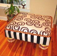 UNIQUE Mackenzie Childs Large Ottoman Stool, Seat, Bench Designer Furniture #MackenzieChilds
