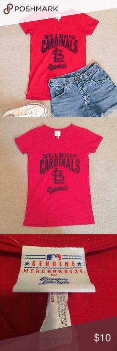 NWOT St. Louis Cardinals V-Neck Never worn and in perfect condition. Bright red v-neck tee. 100% cotton. Navy blueish black lettering with a distressed look. Tag says size Large, but fits like a Small. * shoes and shorts not included * Tops Tees - Short Sleeve