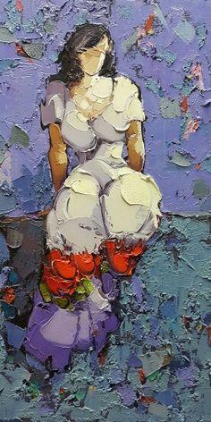 by Saim Dursun Figure Sketching, Knife Art, Palette Knife Painting, A Level Art, Illustrations And Posters, Art Market, Figure Painting, Figurative Art, Female Art