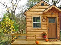 tiny cabin with wrap-around porch. no matter how big or how small my house I MUST have outdoor living space. As another pinner said :). Tiny Cabins, Tiny House Cabin, Cabins And Cottages, Tiny House Living, Cabin Homes, Log Homes, House Porch, Small Cottages, Log Cabins