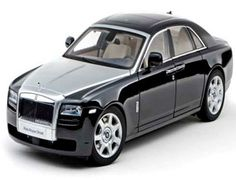 "The Kyosho Rolls Royce Ghost Diamond Black Silver Bonnet, is a diecast model car from this superb diecast model manufacturer, in 1/18th scale.    Kyosho pride themselves on making quality, highly detailed die cast collectibles of the world's most sought after automobiles.    This superb diecast model Rolls Royce Ghost has a huge amount of ""behind the scenes"" work done to ensure everything is correct, compared against the original."