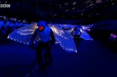 Olympic Opening Ceremony 2012 - Light fantastic: Cyclists with illuminated wings