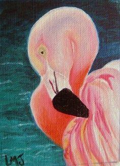 Pink Flamingo Bird Animal Tropical ACEO Limited Edition Miniature Art Print  #Realism
