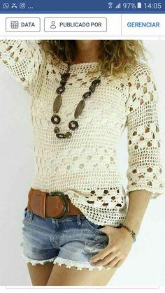 e3c5c7d039fc Diy Crochet, Crochet Tops, Crochet Gratis, Half Sleeve Shirts, Crochet  Patterns,