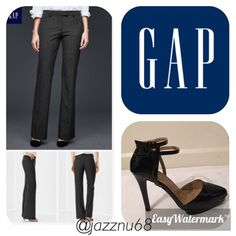 """Final Sale💕Gap Charcoal Pants with blush stripes Gap Modern Fit Charcoal with blush stripes Modern Fit Pants size  0- pants are in excellent condition ~ stretch~ inseam is 32""""💕 GAP Pants Trousers"""