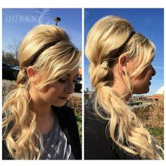"Fun Summer Hair Style using Queen C Hair Extensions in Kellye Bomb Blonde 18"" - 140 grams. Hair pulled to the side with lots of volume on the top. Fast and easy summer hair."