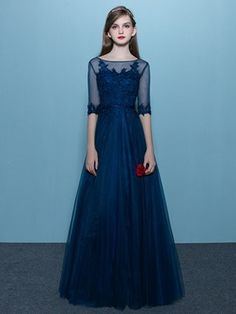 Ericdress A Line Half Sleeve Lace Applique Lace Up Back Floor Length Long Prom Dress