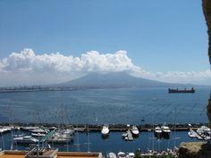 Vesuvius and Naples harbor seen from Castel dell'Ovo