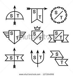 Label With Chain, Shield, Arrow, Trident Stock Vector 127184999 : Shutterstock
