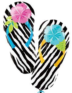 Wild Isle Luau Flip Flop Jumbo Foil Balloon; Birthday Express