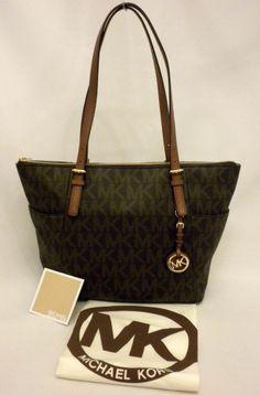 c154d8aa673f MK Michael Kors Top Zip Jet Set PVC Brown Logo Tote Handbag Bag 30s2gttt8b  for sale online | eBay