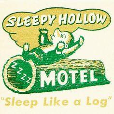 Sleepy Hollow Motel Matchcover Oakland CA by hmdavid Vintage Graphic Design, Vintage Designs, Vintage Advertisements, Vintage Ads, Matchbox Art, Vintage Hotels, Vintage Lettering, Sleepy Hollow, Vintage Travel Posters