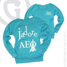 ALPHA EPSILON PHI CUSTOM GROUP ORDER ON OFF THE SHOULDER J'ADORE SWEATSHIRTS!! TO CUTE!