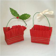 Dennison 1930s Crepe Paper Christmas Candy Cup Baskets