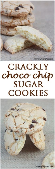 Crackly chocolate chip sugar cookies... You just can't stop eating these cookies! Crispy and crackly on the outside, soft and chewy on the inside. From cakewhiz.com