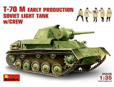 The MiniArt Soviet T-70 M Early Version with Crew in 1/35 scale from the plastic tank models range accurately recreates the real life Russian light tank and crew from World War II. This plastic tank kit requires paint and glue to complete.