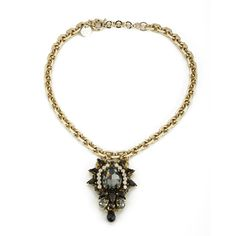 <p>Encapsulating bohemian spirit with signature aesthetics, Matthew Williamson presents the opulent jewel chain necklace. Drawing inspiration from vintage designs, the stunning chain is crafted from gold toned metal and features a pendant of muti-faceted crystals in black, grey and white. Fully adjustable and secured with a clasp at the back. Finished with a 'Matthew Williamson' branded charm to the clasp. - K.N.</p> <p>80% Metal, 20% Acrylic</p>
