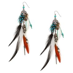 Antique Silver Aztec Bird, Feathers and Chains Drop Earrings | Icing