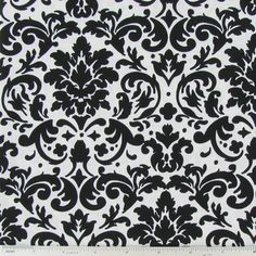 FABRIC-Black and White Damask Fabric by the Yard-Quilt