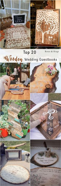 rustic country wood wedding guest books