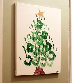 Hand Print Christmas Tree Canvas