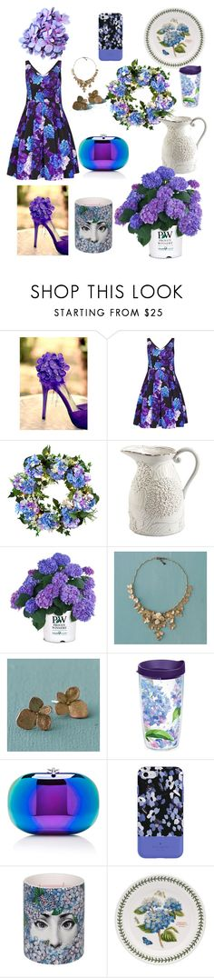 """Who doesn't love Hydrangea?"" by ipekzsuel on Polyvore featuring City Chic, Improvements, Mud Pie, Tervis, Jeffrey Levinson, Kate Spade, Fornasetti and Portmeirion"
