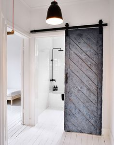 Alternative option for Media Room Barn doors. We could mirror the diagonal pattern on the other door to create a herringbone or chevron pattern.