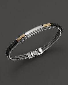 Charriol Gentlemen's Collection Black Leather Nautical Cable Bangl