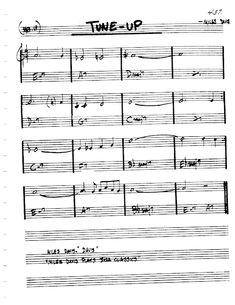 Practice Jazz: [Jazz Real Book I : Page Tune-Up (Miles Davis) - Jazz Standard Sheet Music Jazz Sheet Music, Music Sheets, Trumpet Music, Jazz Songs, Dave Brubeck, Jazz Standard, Duke Ellington, Backing Tracks, Jazz Guitar