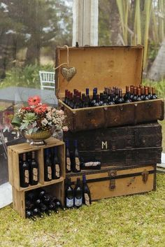 South African Wedding: Rustic vintage suitcases and crates with drinks // Succulent Garden Wedding // Claire Thomson Photography Best Wedding Favors, Rustic Wedding Favors, Wedding Favors For Guests, Chic Wedding, Trendy Wedding, Wedding Decorations, Wedding Ideas, Bush Wedding, Wedding Gold