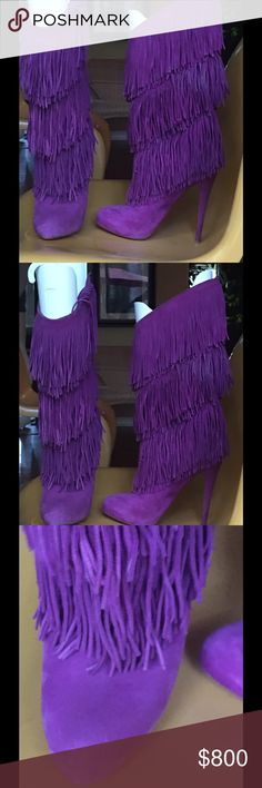 Auth. Christian Louboutin knee-high fringe boots. Knee high Christian Louboutin purple fringe boots. Hubby bought for full price but the six inch heel is just a little too much for me 😕.  Delightful with tucked in jeans or skirt. Fringe moves with you as you walk. Soles repainted by professional with genuine Louboutin sole paint!  Hate to sell, but need to keep only stuff I can wear. Christian Louboutin Shoes Heeled Boots