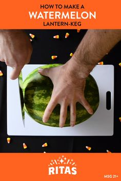 Halloween is closer than you think, and that can only mean one thing: That's right, RITAS is going to show you a grammable way to enjoy your RITAS! This time, it involves a watermelon. Here's how to make this spooky, festive, and melon-y lantern keg! Step-by-Step: 1. Pick the juiciest watermelon 2. Cut the top off 3. Remove core 4. Carve the face 5. Cut tap hole 6. Insert the tap 7. Crack open a RITA 8. Pour it up