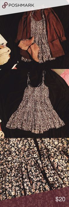 Winter Floral Babydoll Dress Adjustable straps. Open Back. Very flowy & cute. Can be layered to suit the winter or could also we dressed down during the summer! 🌹 American Eagle Outfitters Dresses Backless