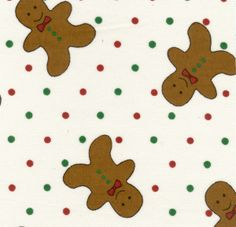 Fabric Finders, Inc. Twill #427 Gingerbread Men on Red/Green Dots