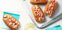 Buttery Lobster Rolls Recipe from Food Network Lobster Roll Recipes, Lobster Rolls, Lobster Food, Lobster Appetizers, Lobster Dishes, Shrimp Rolls, Live Lobster, Salmon And Shrimp, Fish And Seafood
