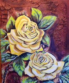 Artists Of Texas Contemporary Paintings and Art - Yellow Roses of Texas, by Melissa A. Torres, 11x14 acrylic and crackle paste on canvas