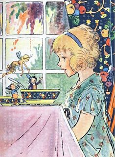 """Illustration by Johnny Gruelle . From """"The Bam Bam Clock'' by J. The fairies teach Dorothy Mary to get up on time for breakfast. Art And Illustration, Vintage Illustrations, Fairy Tale Illustrations, People Illustration, Vintage Children's Books, Vintage Art, Vintage Cartoons, Arte Fashion, Vintage Fairies"""
