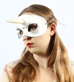 Unicorn leather mask in white by TomBanwell on Etsy