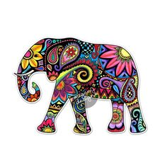 Elephant Car Decal Colorful Design Bumper Sticker by MeganJDesigns