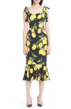 Dolce&Gabbana Tie Shoulder Lemon Print Stretch Silk Dress