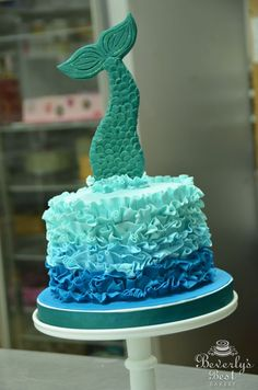 Ombre Fondant Ruffle Cake with Mermaid Tail by Beverly's Bakery