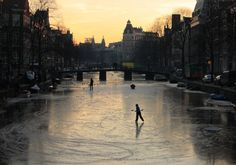 Ice skating in the depths of winter on the frozen canals of Amsterdam, The Netherlands. The Places Youll Go, Great Places, Time Of The Year, Winter Is Coming, Ice Skating, Wonderful Time, Netherlands, Amsterdam, Skate